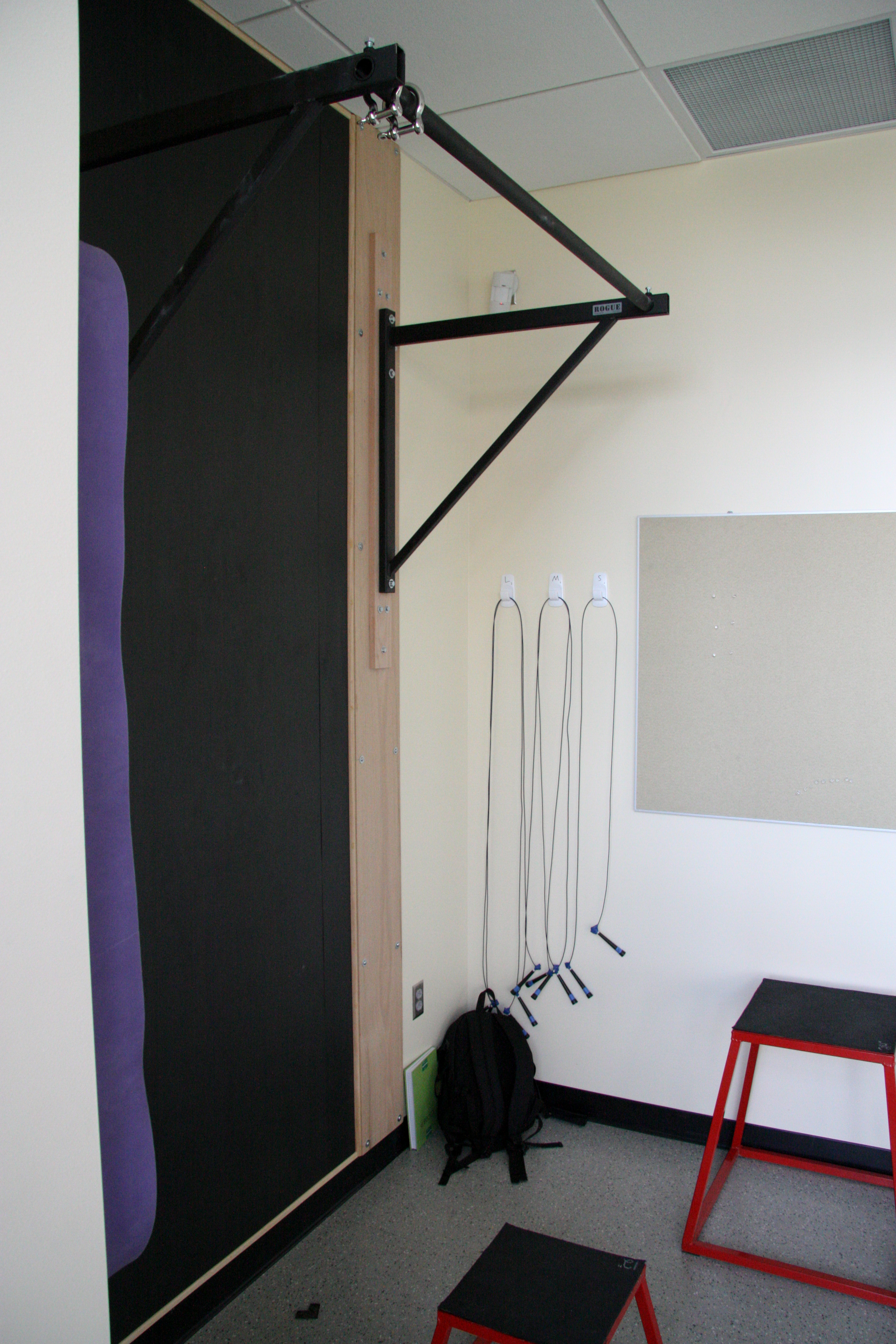 Pullup bar, speed ropes, and rubberbands